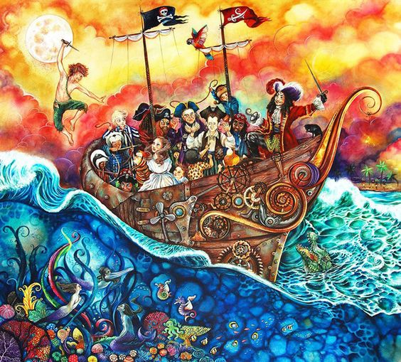 'The Pirate Ship' by artist Kerry Darlington. A Unique Edition Print with mixed media 3D elements. From the Peter Pan collection.  Available at Wyecliffe: http://wyecliffe.com/collections/kerry-darlington-art/products/kerry-darlington-pirate-ship:
