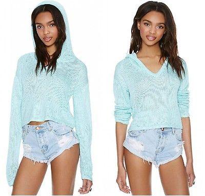 Women Sexy Candy Crop Casual Hooded Knit Top Sweat Shirt Beach Bikini Cover Up C