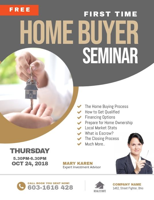 First Time Home Buyer Seminar Flyer In 2021 Seminar Flyer Event Flyers Conference Poster Template