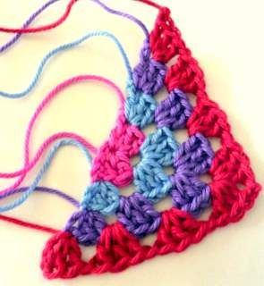 Tutorial on how to crochet a half granny square