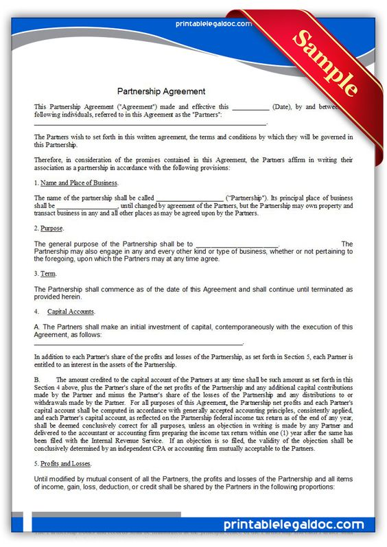 Free Printable Partnership Agreement Legal Forms  Free Legal