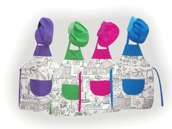 Delantales para colorear complementos delantales ni os y beb juguetes costuras pinterest - Delantales y gorros de cocina para ninos ...