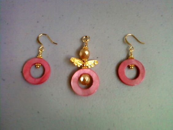 Pink and Gold Angel Pendant with matching Earrings by tlcorbett
