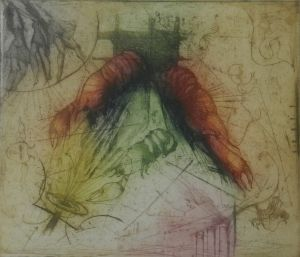 Sam Parabirsingh (1943 - 2003), De drie gratiën (1991), kleurenets e.a., 38 x 33