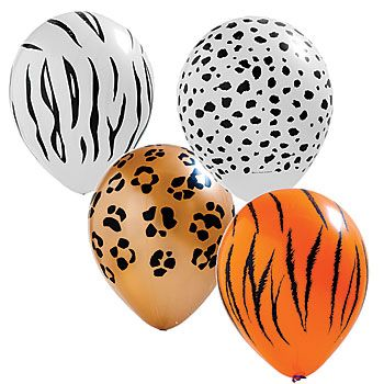 Our Assorted Animal Print Balloons feature four wild animal prints - zebra, cheetah, leopard and tiger.