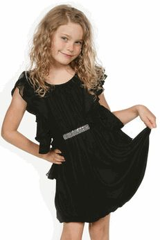 Truly Me Elegant Black Flutter Sleeves Tween Party Dress - Cute ...