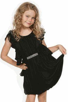 Truly Me Elegant Black Flutter Sleeves Tween Party Dress - Cute ...