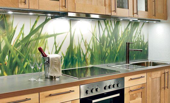 glasrückwand küche gras holz Haus Pinterest Glasrückwand - küche spritzschutz selber machen