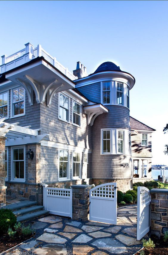 Classic Shingle Home Turret Roof On This Beautiful Beach