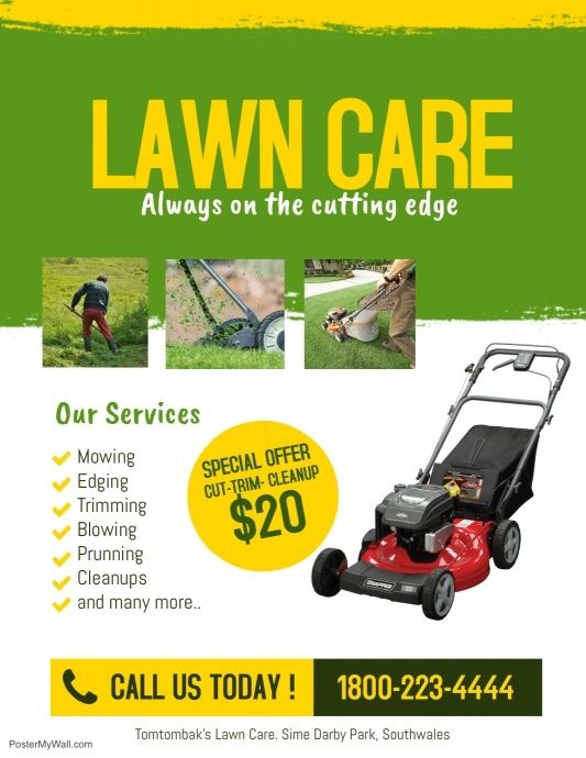 Lawn Care Service Flyer Template With