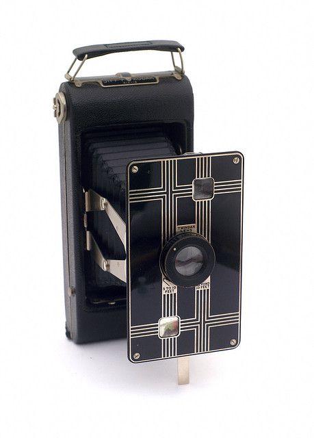 Another beautiful Art Deco design, Kodak Jiffy folding camera