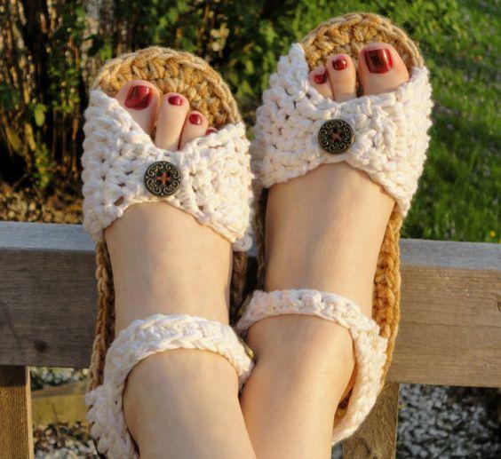 Crochet patrones sandaliasnúmero del estilo 2para por OnWillowLane
