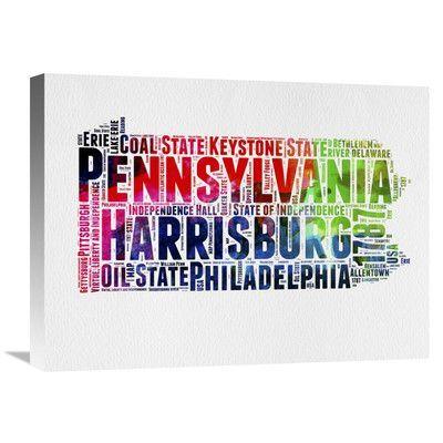 Naxart 'Pennsylvania Word Cloud' Textual Art on Wrapped Canvas Size: