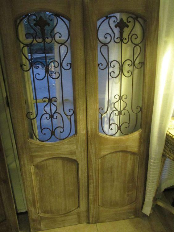 Pair decorative wrought iron wall door panel floor screen cabinet door rustic wood - Wrought iron decorative wall panels ...
