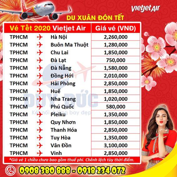 Giá vé máy bay Tết 2020 Vietjet