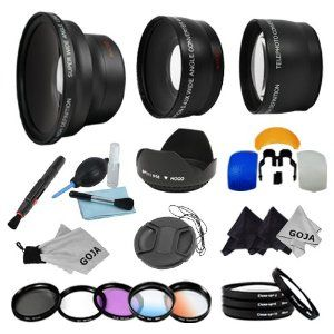 Essential Lens and Filter Kit for CANON Rebel (T3i T3 T2 T2i T1i XT XTi XSi XS), CANON EOS (1000D 1100D 600D 550D 500D 450D 400D 350D 300D 7D 60D) - Includes: 58mm Professional Fisheye Lens + 0.43x Wide Angle and 2.0x Telephoto High Definition Lenses + Macro Close up Set (+1+2+4+10) + Tulip Flower Lens Hood + Center Pinch Lens Cap + Filter Kit (UV, Polarizing, Fluorescent) + 2 Graduated Color Filters (Warming, Blue) + Flash Diffuser Set + Lens Cleaning Pen + Deluxe Cleaning Kit + 3 Premium…