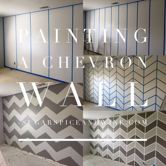 Painting A Chevron Wall Home Pinterest Wall Finishes Design And Tape