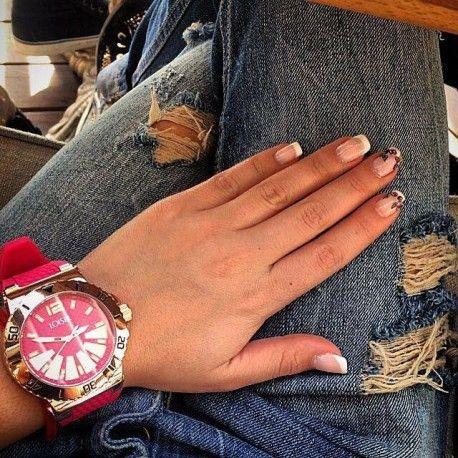 LOISIR 11L75-00193 Joy horloge - bordeaux rood siliconen horlogebandje RVS