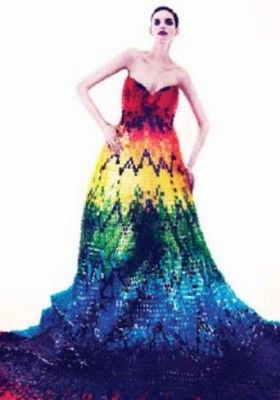 (Photo: TWELV Facebook)At first glance, TWELV magazine's cover photo catches attention for the vibrant colors featured on a rainbow dress, but upon a closer look, the observer comes to realize that the dress is in fact made from an assortment of 50,000 gummy bears.