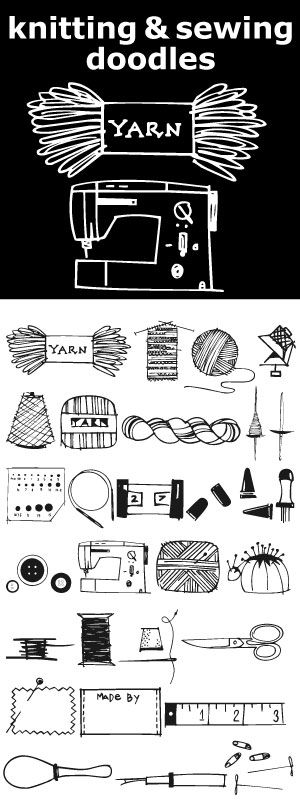 Knitting & Sewing Doodles are just that. 15 knitting icons and 15 sewing doodles.: