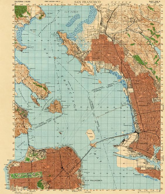San Francisco Bay vintage map Vintage maps Pinterest San