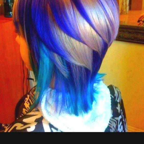 Blue white layered hair
