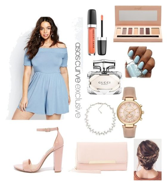 """""""Plus size look: first date"""" by nominjiguur on Polyvore featuring ASOS Curve, Marc Jacobs, Barry M, Gucci, Steve Madden, Charlotte Russe, Michael Kors and Carolee"""
