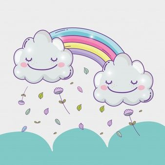 Arco Iris Con Nubes Felices Y Hojas De Flores En 2020 Avec Images