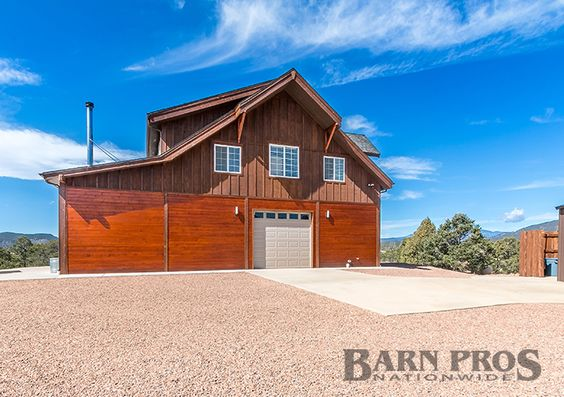 Barn garage apartment with enclosed shed roof dormers and for Barn kits with apartments