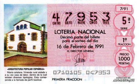 Décimo Del Sorteo Extraordinario De Lotería De San Valentin Celebrado El 16 De Febrero De 1991 Coleccionismo Loter Lotería Nacional Lotería Masia Catalana