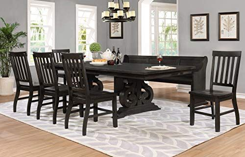 Best Quality Furniture D48 D7 7pc Dining Set 1 Table 5 Chairs 1 Bench Cappuccino Rusti Cheap Dining Room Chairs Rustic Dining Set Solid Wood Dining Set