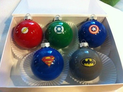 DIY superhero ornaments, she used stickers, but paper and mod podge would work as well