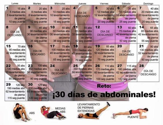 Ejercicios Abdominales !!! Reto de 30 dias para un abdomen plano