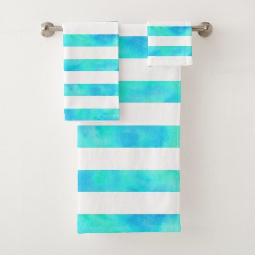 Aqua Blue Watercolor Stripes Bath Towel Set Striped Bath Towels