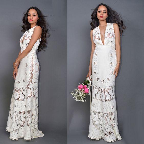 Vintage Sheer Crochet LACE Plunging  WEDDING Mermaid Boho Maxi Dress Gown Train