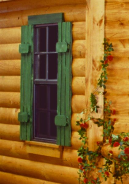 Window cabin and window trims on pinterest for Log cabin window trim