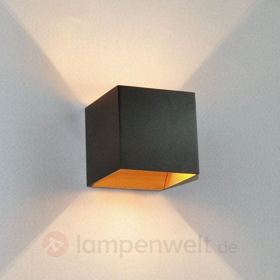 led wandleuchte aldrina schwarz innen gold wandlampe indirektes licht led flur in m bel wohnen. Black Bedroom Furniture Sets. Home Design Ideas