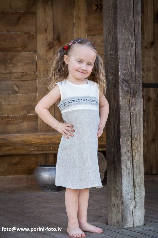 Linen Dress for Girls. Very soft natural linen girl's sleeveless summer dresses.