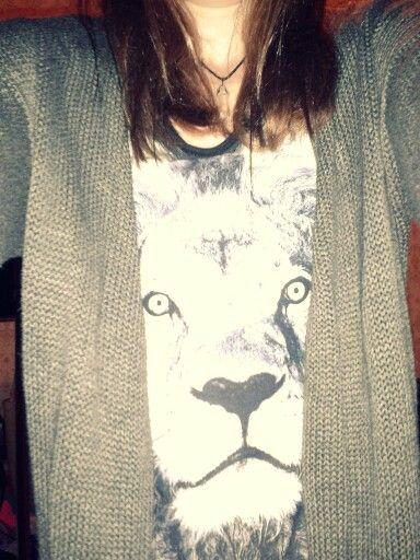 lion teeshirt and grey sweater