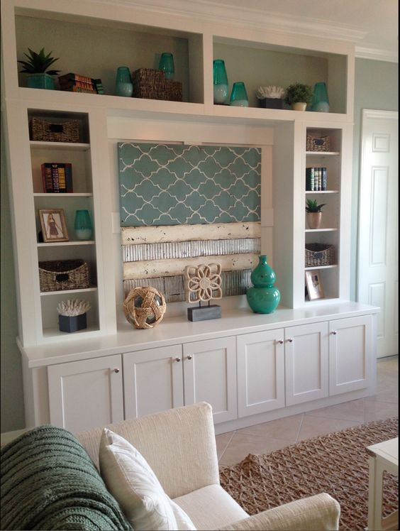 Diy custom living room built in entertainment center made for Built in entertainment center using kitchen cabinets