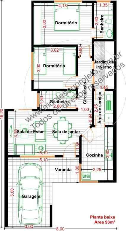Plantas de casas com 5 metros de frente com 3 quartos for Frentes de casas pequenas