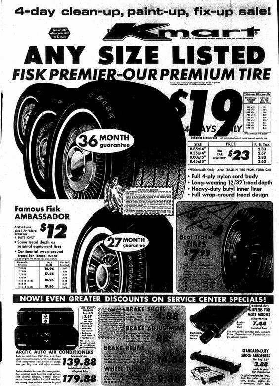 Kmart Auto Center April 1969 FISK TIRE Newspaper Ad