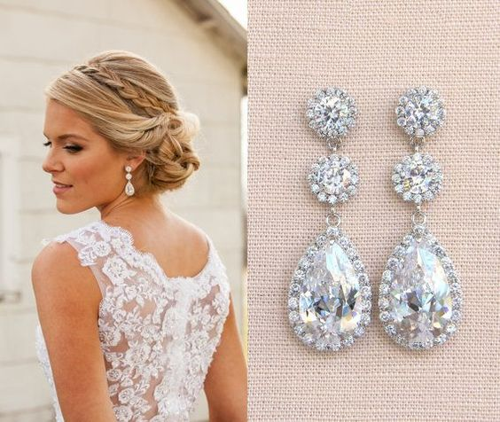 Crystal Bridal Earrings Wedding earrings Long by CrystalAvenues: