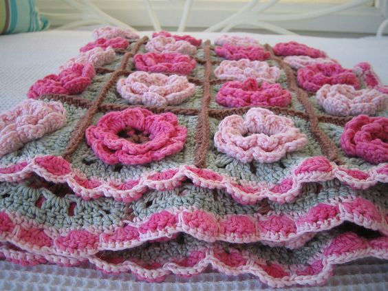 Flower square pattern by Beata Basik Ravelry, Flower and ...