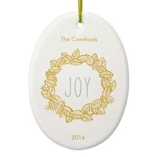 Joy Wreath Holiday Design Christmas Tree Ornaments