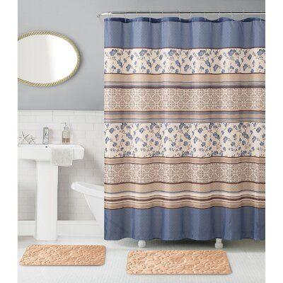 Red Barrel Studio Nantucket Memory Foam 15 Piece Shower Curtain
