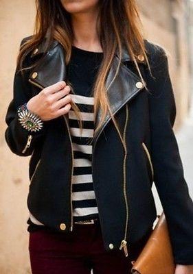 womens zara WOOL PU LEATHER COLLAR Gold Zipper jacket coat trench