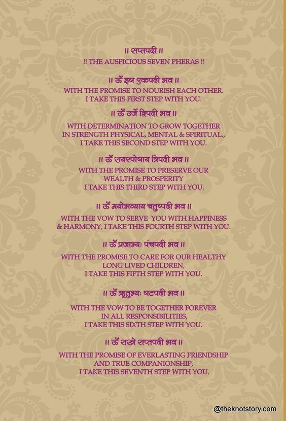The 7 Pheras Saptapadi Wedding Card Quotes Wedding Card