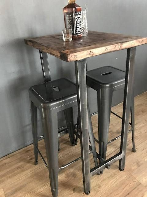 Cafe Bistro Bar Coffee Table And Stool Set Etsy Coffee Table And Stool Set Coffee Table With Stools Bar Height Dining Table