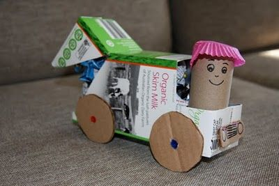 Garbage truck simple to make with recycled materials for Craft model with waste material